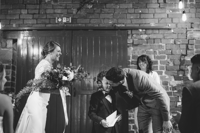 Wedding ceremony at Sheffield Hawks works